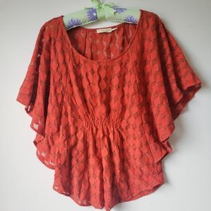 Anthropologie the addison story orange blouse